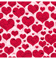 valentine background with red hearts vector image vector image