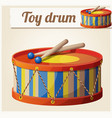 vintage toy drum 2 cartoon vector image