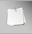 white sheets of pinned note papers vector image vector image
