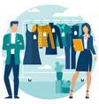 yong man and woman at shopping vector image vector image