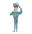 young hispanic police officer whistling vector image vector image