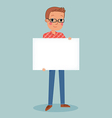 young man wear glasses holding blank sign vector image vector image