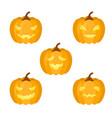 a set of pumpkins for halloween vector image