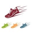 Speeding running shoe icons vector image