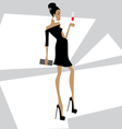 Girl in a black dress with a glass vector image