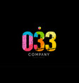 033 number grunge color rainbow numeral digit logo vector image vector image