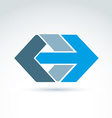 abstract emblem with blue arrow right direction vector image