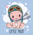baby boy in a pilot hat vector image vector image