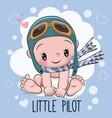 baby boy in a pilot hat vector image vector image