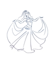 belly dancer ink sketch gesture drawing vector image vector image