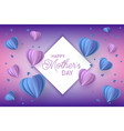 blue and violet hearts in paper craft art style on vector image vector image