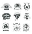 bowling monochrome vintage style emblems vector image vector image