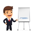 Businessman With Marker in Front of the Flipchart vector image vector image