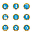 care female icons set flat style vector image vector image
