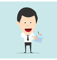 Cartoon business man write note and report vector image vector image