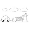 cartoon of man charging electric car by power vector image