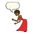cartoon woman in dress gesturing with speech vector image vector image
