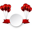 Celebrate red ribbon background with balloons vector image vector image