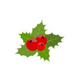 christmas berries and green leaf vector image vector image