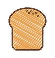 color drawing pencil cartoon slice of bread vector image vector image