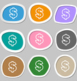 Dollar icon symbols Multicolored paper stickers vector image