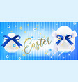 easter white eggs with silk bow in flowers vector image