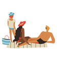 family relaxing seaside parents and kid on vector image vector image