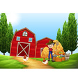Farmer working in the farm outside vector image
