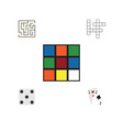 flat icon entertainment set of guess cube vector image vector image