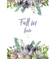 floral card design with succulent cactus plants vector image vector image