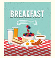 fried egg with sausages and coffee cup vector image vector image