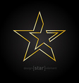 Gold Abstract star made of thin lines on black vector image vector image