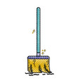 grated broom sweep equipment to clean house vector image vector image