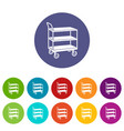 kitchen trolley icons set color vector image vector image