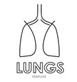 linear stylized drawing of lungs vector image vector image
