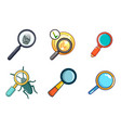 magnified glass icon set cartoon style vector image