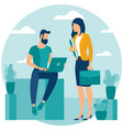 man and woman in coworking vector image vector image