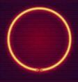 neon lamp in shape circle brick wall lit vector image vector image