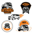 off-road vehicle labels or logos set isolated on vector image