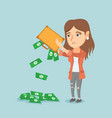 penniless woman shaking out money from briefcase vector image