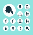 people icons set with pupil speaker vector image