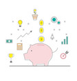 piggy bank and money coins with business finance vector image vector image