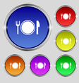 Plate icon sign Round symbol on bright colourful vector image