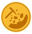 rocks mining gold coin vector image