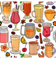 seamless background of coffee and tea vector image