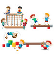 set children playing playground equipment vector image vector image