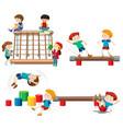 set of children playing playground equipment vector image