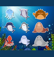set of underwater animals sticker vector image