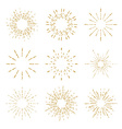 Set of vintage handdrawn sunbursts vector image vector image