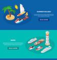 ships isometric banners vector image vector image